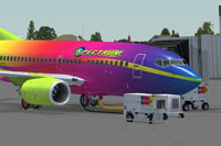 Screenshot of a brightly colored Boeing 737-600 on the ground.