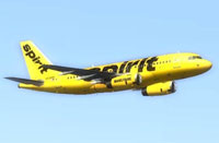 Screenshot of Spirit Airlines Airbus A319 in flight.