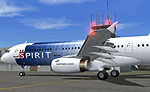 Screenshot of Spirit Airlines Airbus A321-211 on the ground.