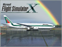 Splash Screen showing Alitalia Boeing 777-200ER on runway.