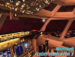 Splash Screen depicting the lit cockpit of a B737-800 plane during a full moon in autumn at night in flight.
