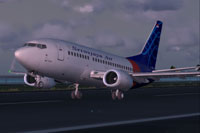 Screenshot of Sriwijaya Air Boeing 737-500wl on runway.