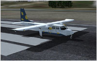 Screenshot of St. Barth Commuter BN Islander on runway.
