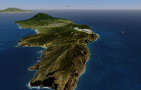 Aerial view of St. Eustatius scenery.