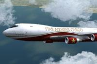 Screenshot of Star Airways Cargo Livery 747-400F in flight.