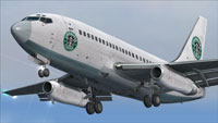 Screenshot of Starbucks Airlines Boeing 737-200 in flight.
