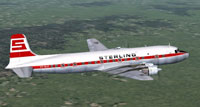 Screenshot of Sterling Airways DC-6B in flight.