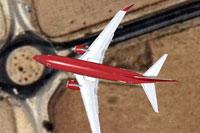 Top down view of Sterling Boeing 737-700 WL in flight.