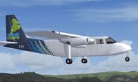 Screenshot of Stewart Island Britten Norman Islander in flight.
