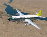 Screenshot of Sudan Airways Vickers Viscount in flight.