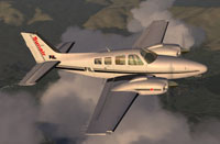Screenshot of Sunair Beechcraft Baron 58 ZK-FIL in flight.