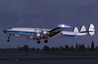 Screenshot of Lockheed Super Constellation L1049G DFX above runway.