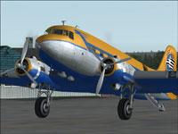 Screenshot of Swedish Douglas DC-3 on the ground.