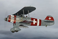 Screenshot of Swiss Air Force Heinkel He 51 in flight.