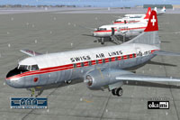Swiss Air Lines Convair CV-240 HB-IRS on the ground (front left).