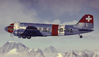 Side view of Swiss Air Lines Douglas C-47 flying past mountains.