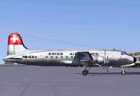 Screenshot of Swiss Air Lines Douglas DC-4 on the ground.