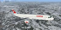 Screenshot of Swiss Airbus A321 in flight.