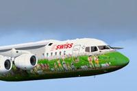 Screenshot of Swiss BAe 146 in flight.