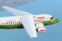 Screenshot of Swiss BAe 146 with corrected textures.