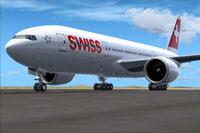 Screenshot of Swiss Boeing 777-200LR on the ground.