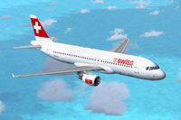 Screenshot of Swiss International Airbus A320-214 in flight.