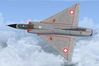 Screenshot of Swiss Mirage III B in flight.
