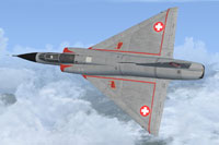 Screenshot of Swiss Mirage III U-2001 in flight.