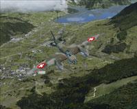 Screenshot of Swiss Mosquito MKIV B-5 in flight.