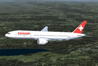 Screenshot of Swissair Boeing 777-200ER in flight.