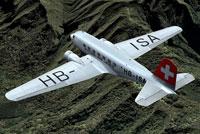 Screenshot of Swissair Douglas DC-2 in flight.