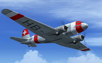 Screenshot of Swissair Douglas DC-2 HB-ITE in flight.