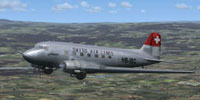 Screenshot of Swissair Douglas DC-3 HB-ISC in flight.