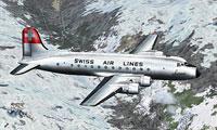 Screenshot of Swissair Douglas DC-4 HB-ILI in flight.