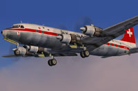 Screenshot of Swissair Douglas DC-6B in flight.