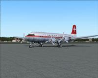Screenshot of Swissair Douglas DC-6B on the ground.