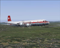 Screenshot of Swissair Douglas DC-7C in flight.