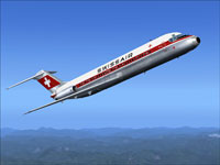 Screenshot of Swissair Douglas DC-9-30 in the air.