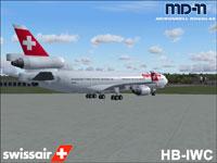 Screenshot of Swissair McDonnell Douglas MD-11 on the ground.