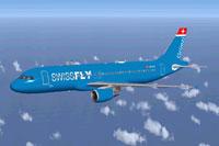 Screenshot of Swissfly Airbus A320 in flight.