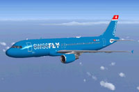Screenshot of Swissfly Virtual Airways Airbus A320 in flight.