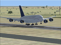 Screenshot of Syrian Air Airbus A380-800 landing on runway.