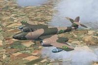 Screenshot of Syrian Gloster Meteor FR9 in flight.
