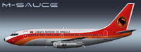 Profile view of TAAG Angola Airlines Boeing 737-200.