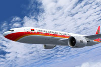Screenshot of TAAG Angola Airlines Boeing 777-200LR in flight.