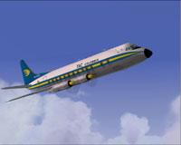 Screenshot of TAC Colombia Viscount 837 in flight.