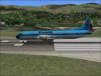Screenshot of TAME Ecuador Lockheed L-188A on runway.