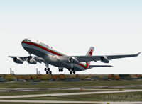 Screenshot of TAP Air Portugal Airbus A340-312 taking off.