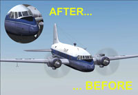 Before and after image showing the improved detail on the nose.