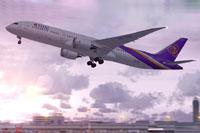Screenshot of THAI Airways Bowing 787-9 taking off.